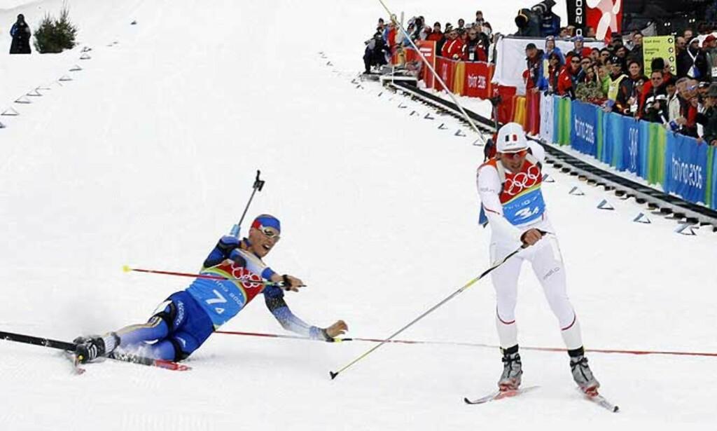 FOTOFINISH: Carl Johan Bergman ble slått av Raphael Poirée på målstreken. Foto: Reuters/Scanpix