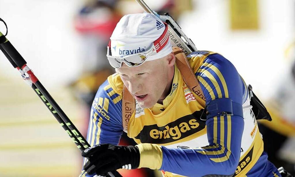 FØRSTE SEIER: Carl Johan Bergman tok sin første verdenscupseier i dag. Lørdag fyller han 28 år, og går samtidig for sin andre. Foto: AP/Scanpix