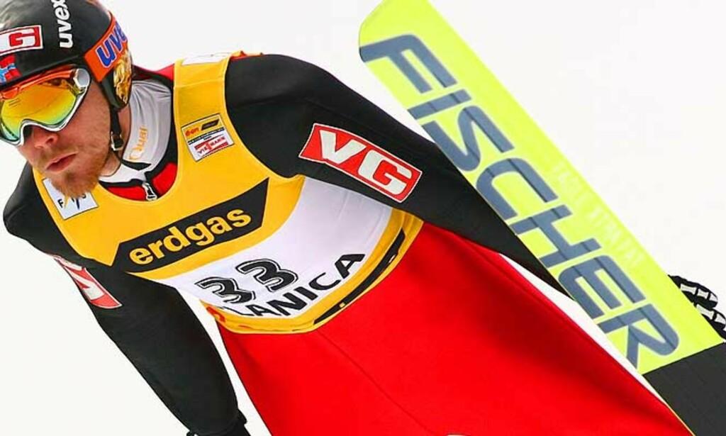 Bare 5.plass: V-rekordholder Bjørn Einar Romøren klarte ikke å følge opp seieren i Planica fra i går. Foto: SCANPIX