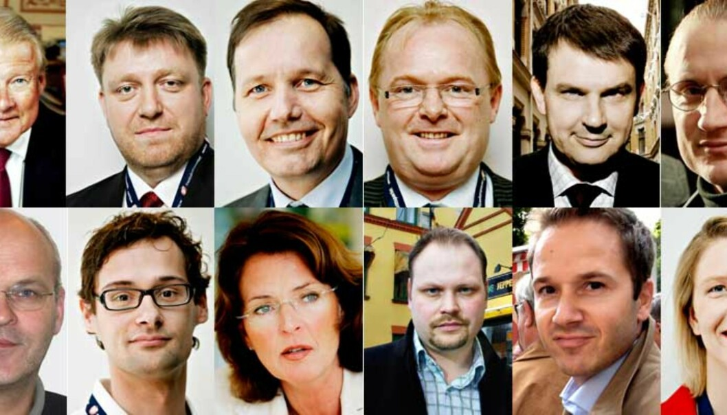 <b> ØVERSTE REKKE (FR.V.): </B> Carl I. Hagen, Geir Mo, Per Arne Olsen, Per  Sandberg, Tor Mikkel Wara og Finn Egil Holm. <b> NEDERSTE REKKE (FR.V.):</B> Øystein Sjøtveit, Fredrik Färber, Marianne Lie, Kristian Norheim, Lars Erik Grønntun og Sylvi Listhaug. Foto: DAGBLADET