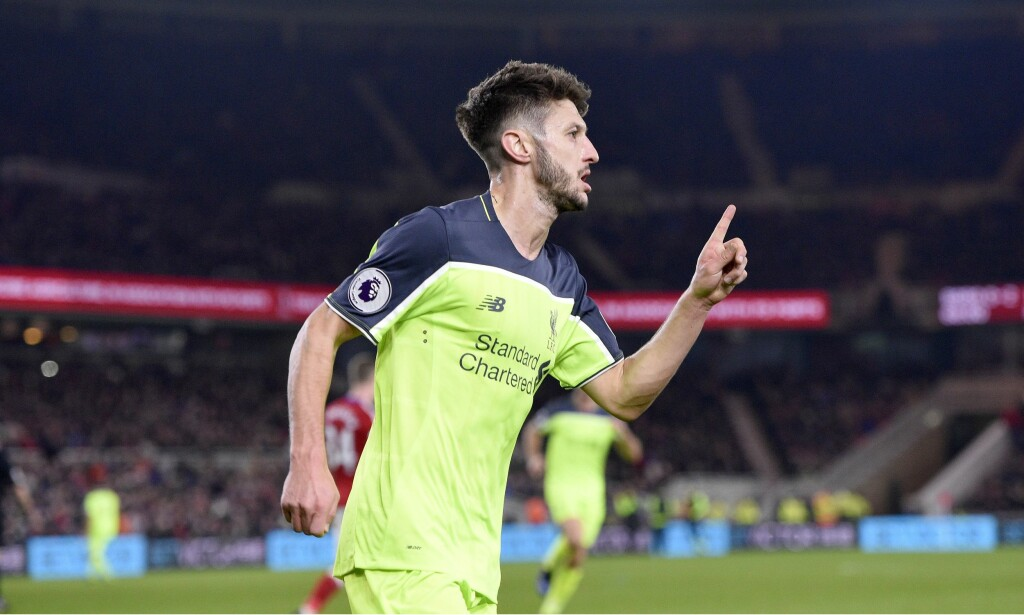 DOBBEL: Adam Lallana kunne juble for sin andre scoring mot Middlesbrough. Foto: Greig Cowie/BPI/REX/Shutterstock/NTB Scanpix