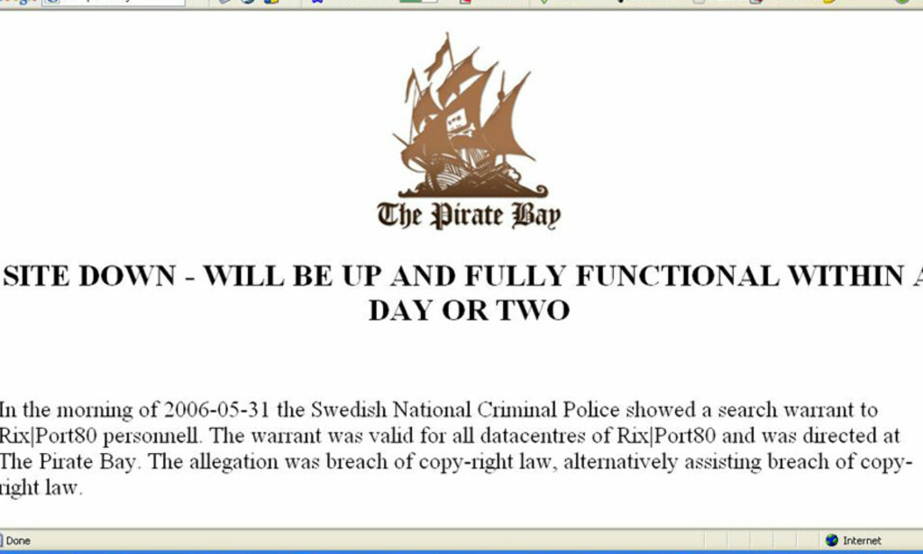 Faksimile fra The Pirate Bay