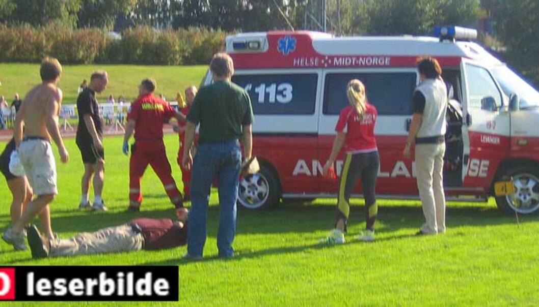 <b>HELL I UHELL?</b> Det skal etter forholdene stå bra til med mannen som i dag ble truffet av et spyd under friidrettsstevnet Midt-Norsk ungdomsmatch i Levanger. Foto: DAGBLADET.NO-TIPSER