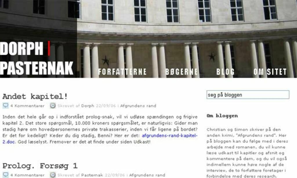 BER OM HJELP: Simon Pasternak og Christian Dorph bruker blogg til å skrive kriminalroman. Foto: FAKSIMILE