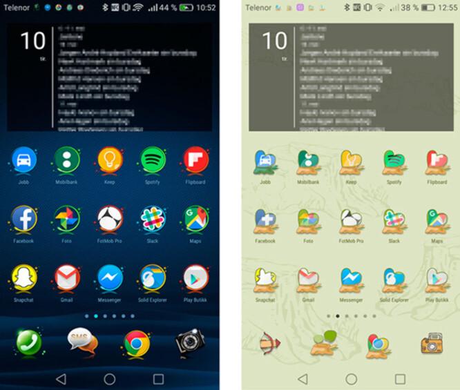 <strong>MANGE VARIANTER:</strong> Via tema-appen kan du velge og vrake i både bakgrunner, ikoner, låseskjermer og lignende. Skjermdump: Pål Joakim Pollen