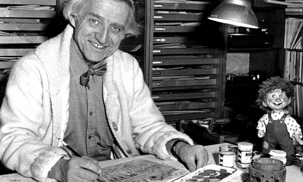 LAGDE VISER SOM BARNA SKULLE MALE TIL: Thorbjørn Egners «Visen om vesle Hoa» er en av mange viser som ble sendt på Lørdagsbarnetimen. De skulle inspirere barna til å tegne og male. Se også en liten bildeserie om Malermester Klatti-klatts reise til «negerland». Foto: NTB/SCANPIX
