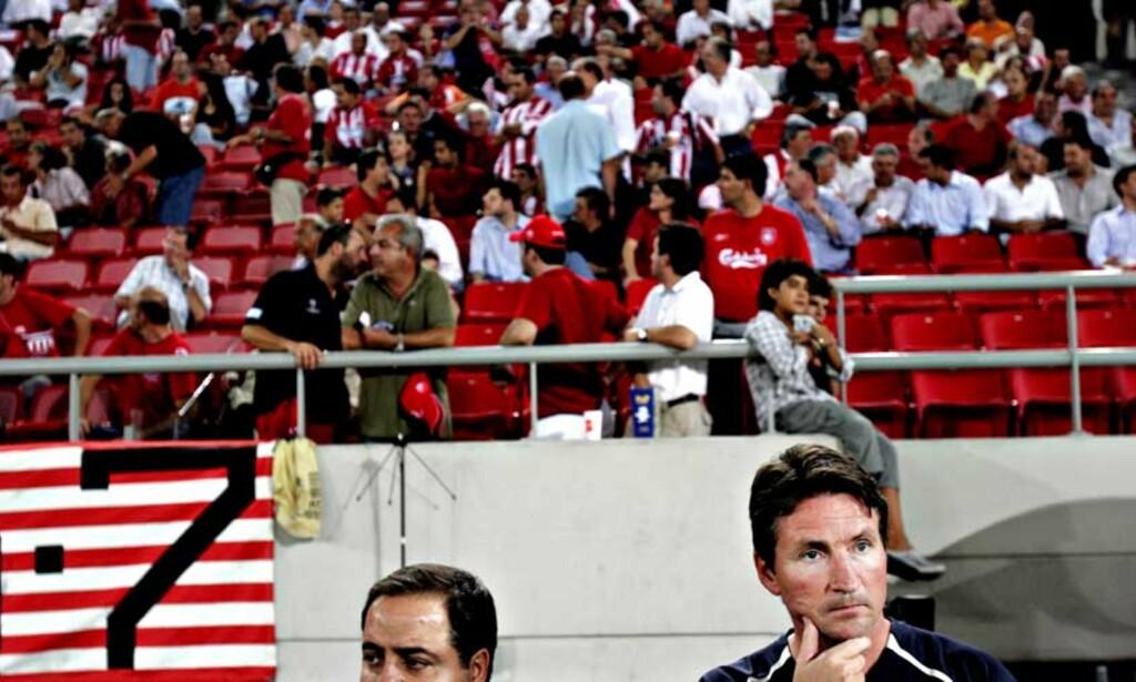 PÅ VEI UT?: Trond Sollieds dager i Olympiakos kan være talte, etter at klubben også i år mislyktes totalt i Champions League. Foto: Aleksander Nordahl