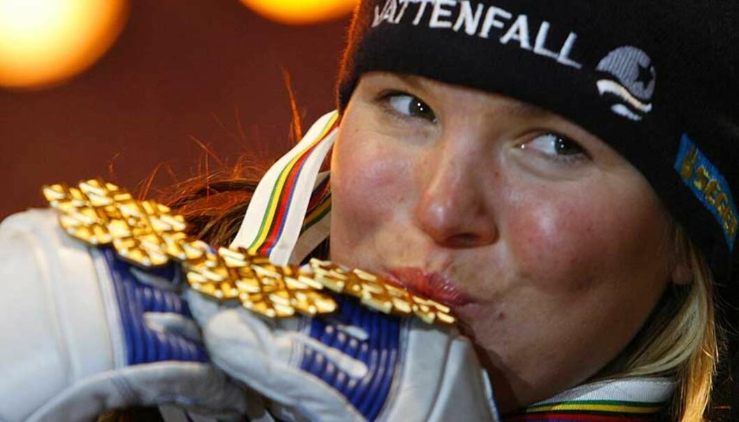 <strong><b>TRE TATT, TO IGJEN:</strong></B> Anja Pärson kan bli den første alpinisten noensinne med fem gull i ett VM. Foto: Scanpix/Reuters