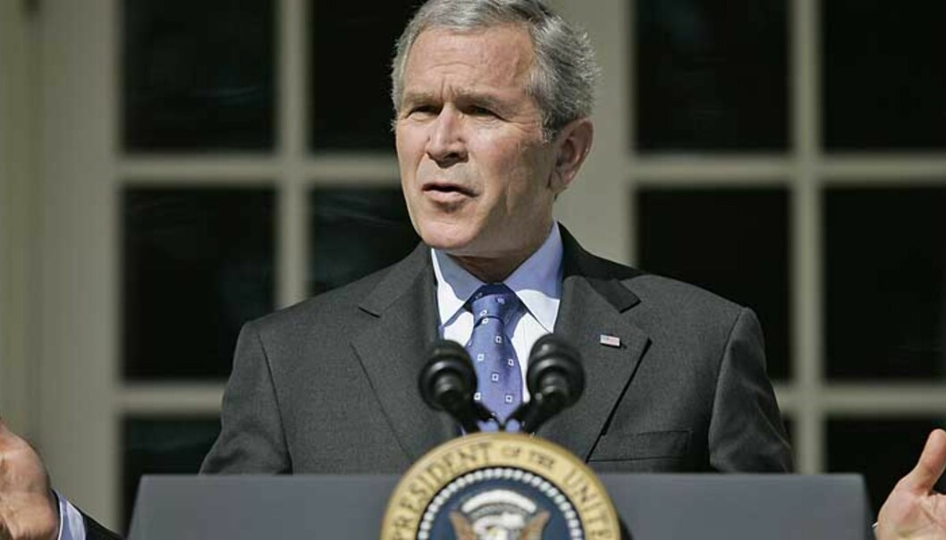 <strong><b>BRYR SEG IKKE:</strong></b> President Bush og USA bryr seg ikke om at Russland ikke er begeistret for planene om å bygge ut rakettforsvarssystemer i Tsjekkia og Polen. Foto: SCANPIX/CHARLES DHARAPAK