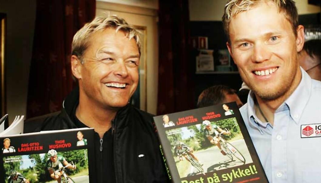 Thor Hushovd er hjemme før oppkjøringen mot Giro de Italia, og lanserte bok sammen med Dag Otto Lauritzen i dag. Foto: SCANPIX/Knut Falch