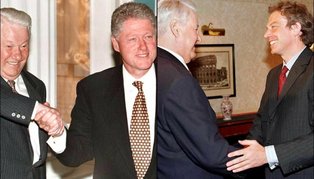 <b>VESTENS VENN</b> I likhet med Mikhail Gorbatsjov, syntes Boris Jeltsin det var viktig å pleie gode bånd med utenlandske statsledere. Her poserer han sammen med Bill Clinton og Tony Blair i 1998. Foto: EPA/SCANPIX.