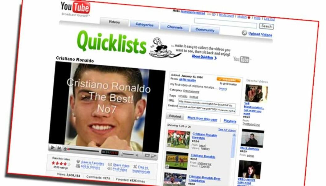 <strong><b>POPULÆR VIDEO:</strong></b> Sånn starter Cristiano Ronaldo-videoen som den norske 18-åringen girl4ronaldo la ut i januar i fjor. Legg merke til tallet for antall visninger (nede til venstre). Faksimile: YouTube