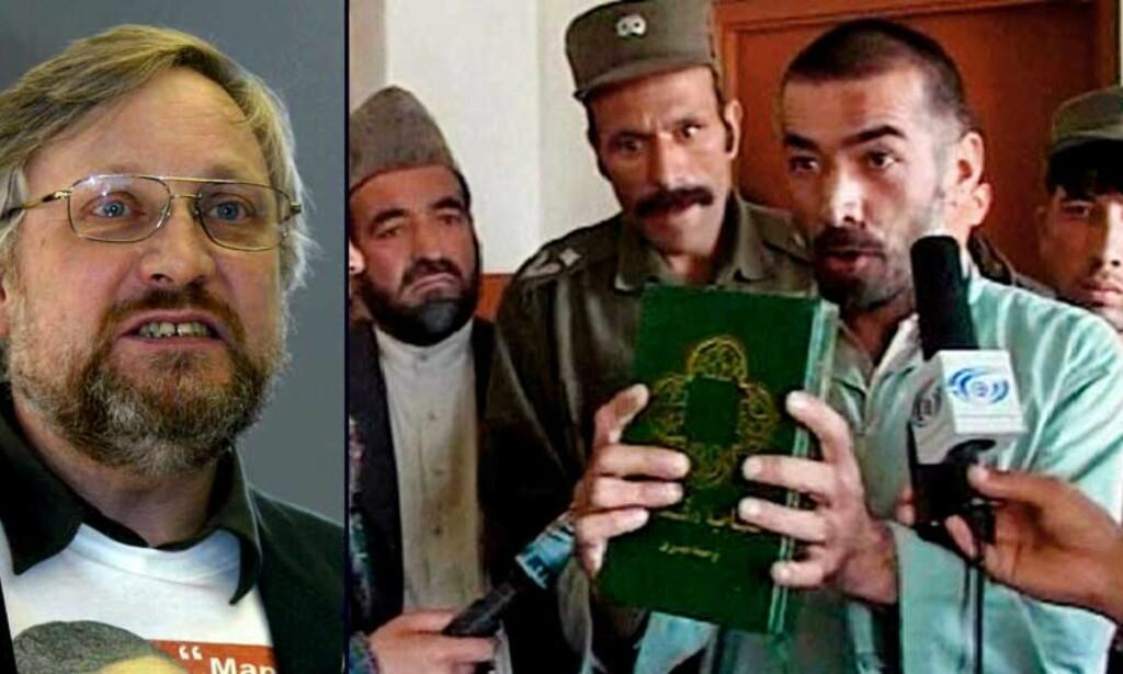 FORSØKT DØMT TIL DØDEN: Abdul Rahman (t.h.) ble forsøkt dømt til døden, men slapp ved at han ble erklært sinnssyk. På bildet viser han fram en bibel, mens han føres vekk av politifolk i Kabul. Lars Gule (t.h.) mener afghanerne som norske myndigheter vil sende tilbake, kan bli drept av myndigheter, familie eller naboer. Foto: Scanpix