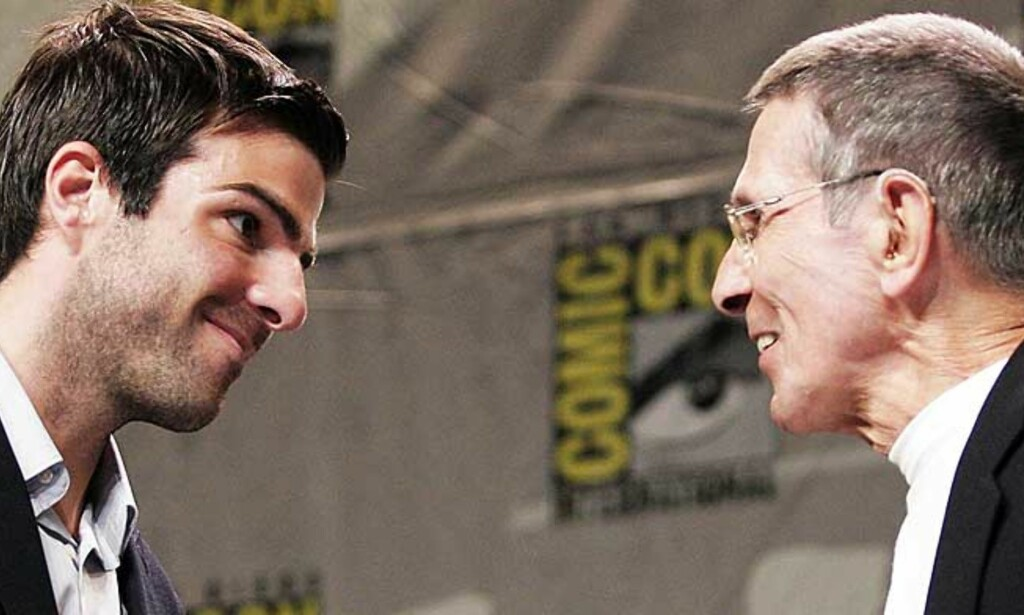 2 X SPOCK: Leonard Nimoy (t.h.) og nykommeren Zachary Quinto under Comic-Con i San Diego.