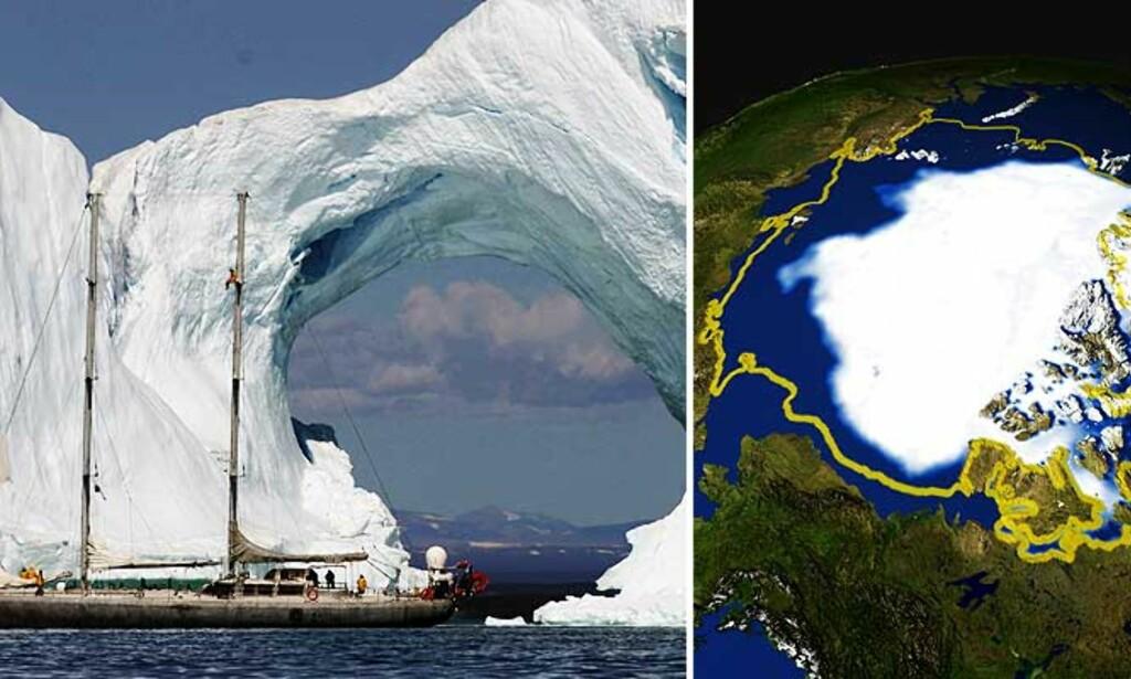 SKAL PÅ TOKT: Skonnerter skal i vinter ligge fastlåst i ismassene for å følge strømmene i Arktis. Underveis tar de målinger som sendes til forskere i Europa. Til høyre ser man hvordan havisen over Arktis har trukket seg tilbake de siste årene. Foto: Francis Latreille/ADO / AFP PHOTO/HO/NASA