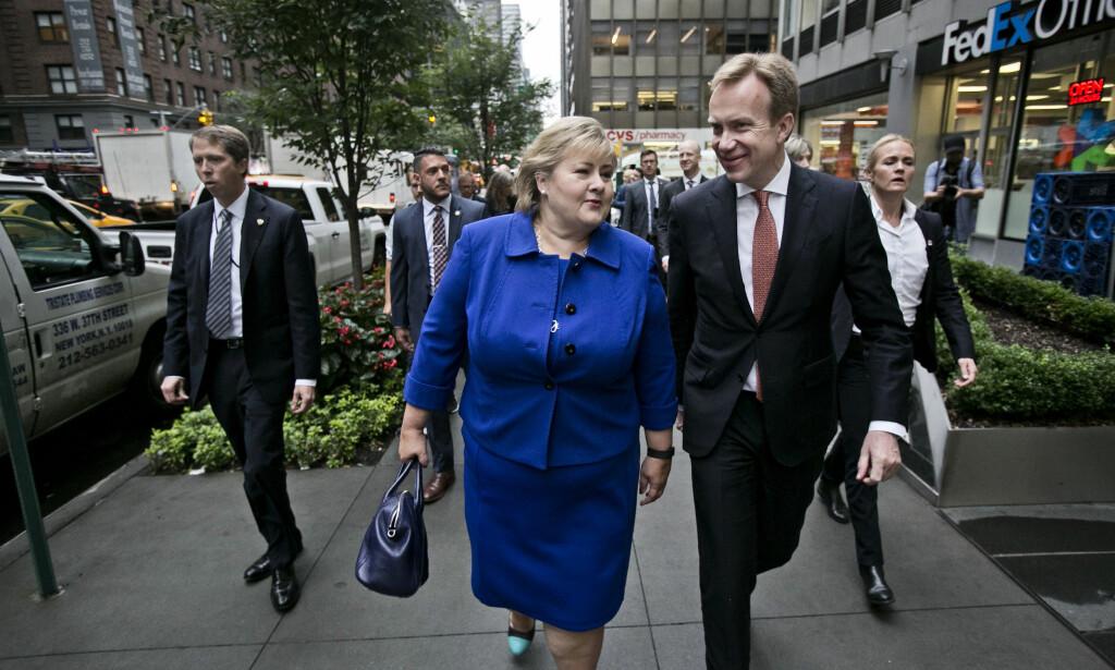 SVARER SNART: Statsminister Erna Solberg og utenriksminister Børge Brende må ta stilling til om Norge skel delta i rakettskjoldet over Europa. Foto: NTB / Scanpix