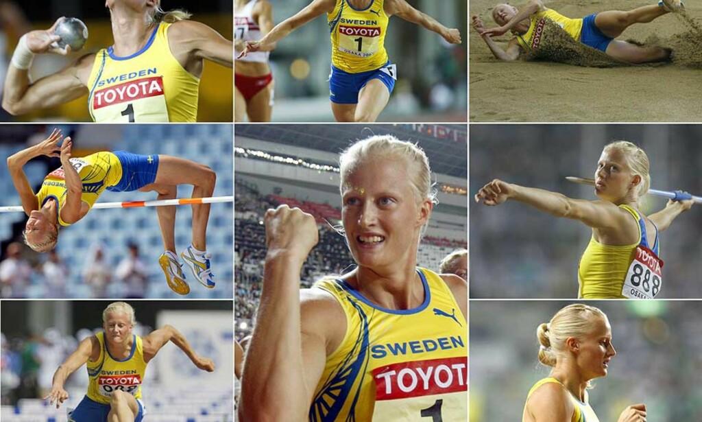 FRA SJU TIL TO GRENER: Carolina Klüft er ikke motivert til å trene sju friidrettsdisipliner lenger. Framover blir det bare lengde og tresteg for blondinen. Foto: Scanpix/Ap
