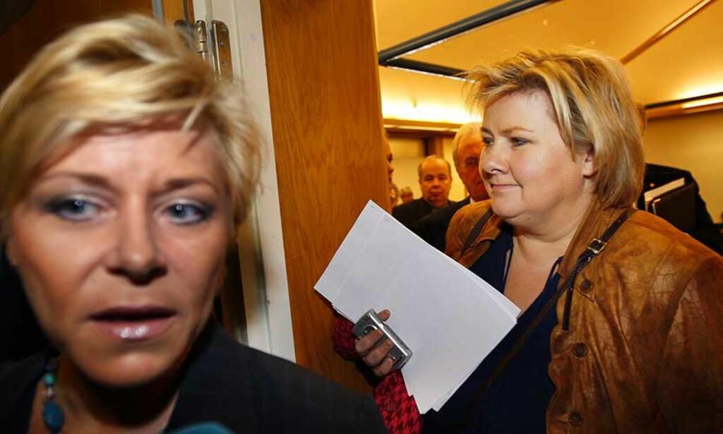 SIV ER KLAR FOR SAMARBEID: Men det spørs om ikke Erna snur i døra. FOTO: LISE ÅSERUD/ SCANPIX