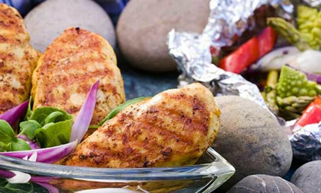 image: Kyllingfileter med grillede grønnsaker