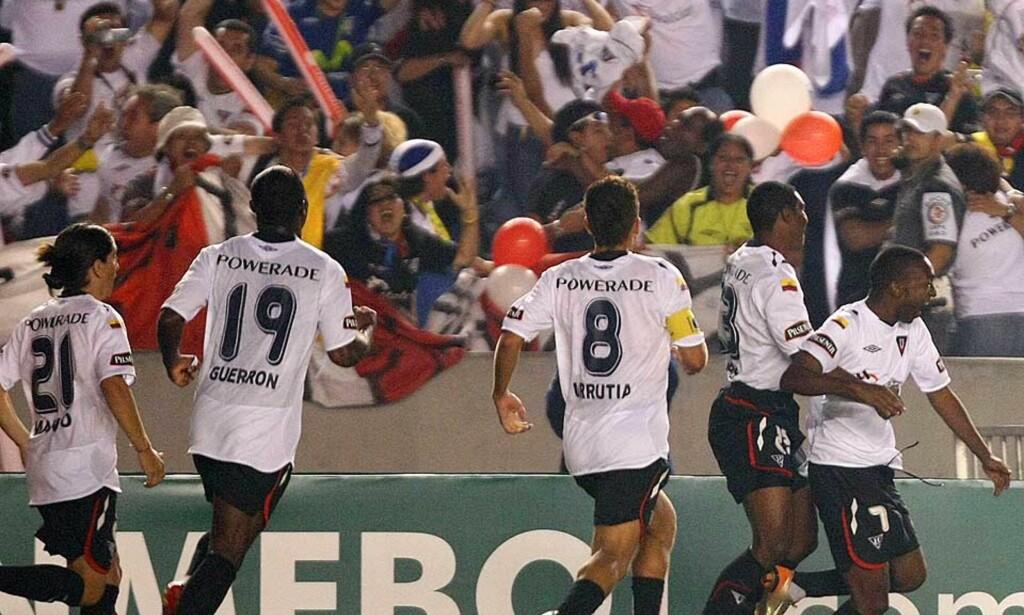 HISTORISK JUBEL: Liga de Quito kunne juble for Ecuadors første seier i prestisjetunge Copa Libertadores. Foto: AFP/Scanpix
