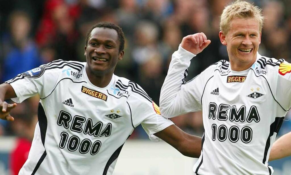 ENKEL DAG PÅ JOBBEN: Yssouf Koné og Steffen Iversen sørget for tre av målene da Rosenborg slo Ekranes 4-0 på Lerkendal i ettermiddag. Foto: Gorm Kallestad/Scanpix