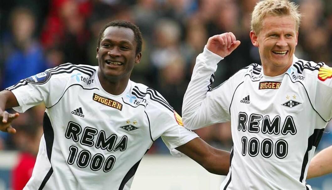 <b>ENKEL DAG PÅ JOBBEN:</b> Yssouf Koné og Steffen Iversen sørget for tre av målene da Rosenborg slo Ekranes 4-0 på Lerkendal i ettermiddag. Foto: Gorm Kallestad/Scanpix