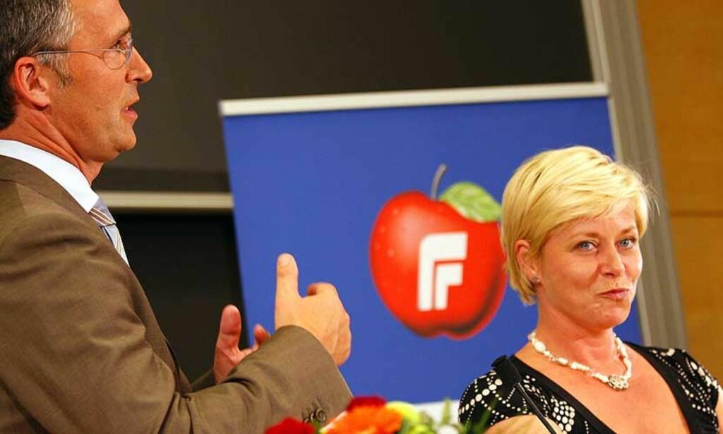 FRYKTER ANGREP FRA VENSTRE: Men Siv Jensen sier at dommedagsprofetiene ikke vil forstyrre Frps regjeringsplaner. FOTO: TOR ERIK SCHRØDER/ SCANPIX