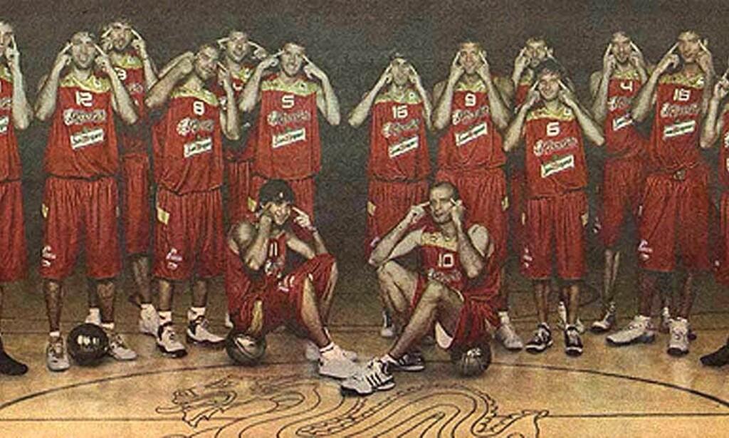 UNDER KRITIKK: Spanias landslag i basketball får IOK-kritikk etter omdiskutert reklamestunt. Foto: Spanske basketforbundet (FEB)