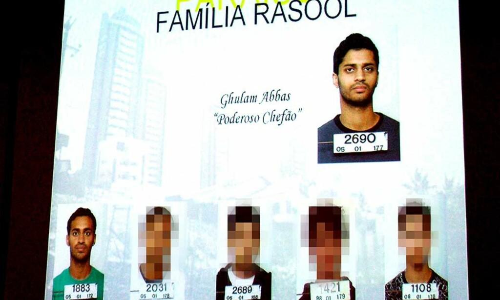 SENDTE BREV OM ABBAS: Oslo-politiet har skrevet rapport om Ghulam Abbas - kalt den «mektige sjefen» av brasiliansk politi - og de andre brødrene i Rasool-familien. Slik ble brødrene presentert av politiet i Brasil. Foto: Hercules Dantas