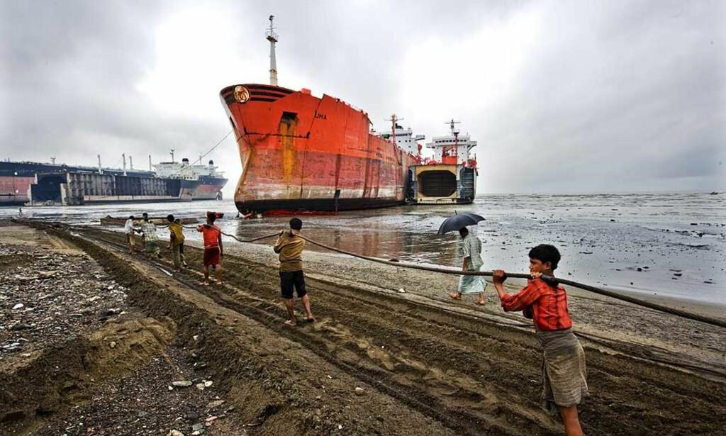 TIDLIG KRØKES: Her hugges skip som har vært eid av norske redere opp. Arbeidet er farlig, alderen er lav. Mange er i tenårene. Foto: Shahidul Alam