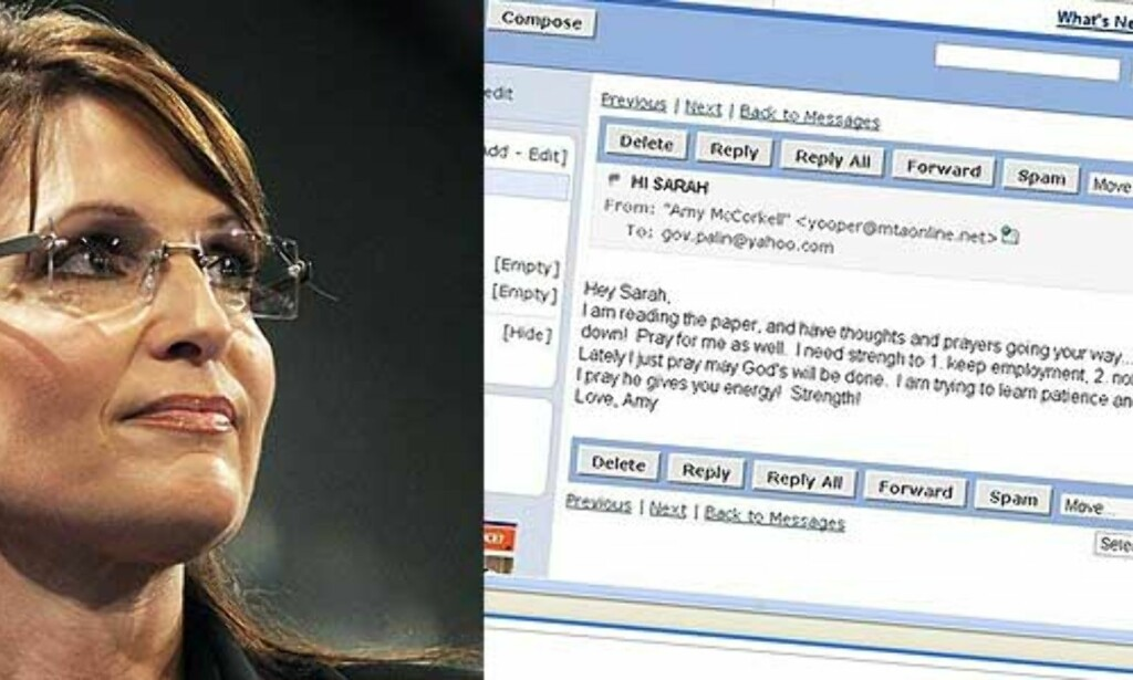 Sarah Palins e-post hacket