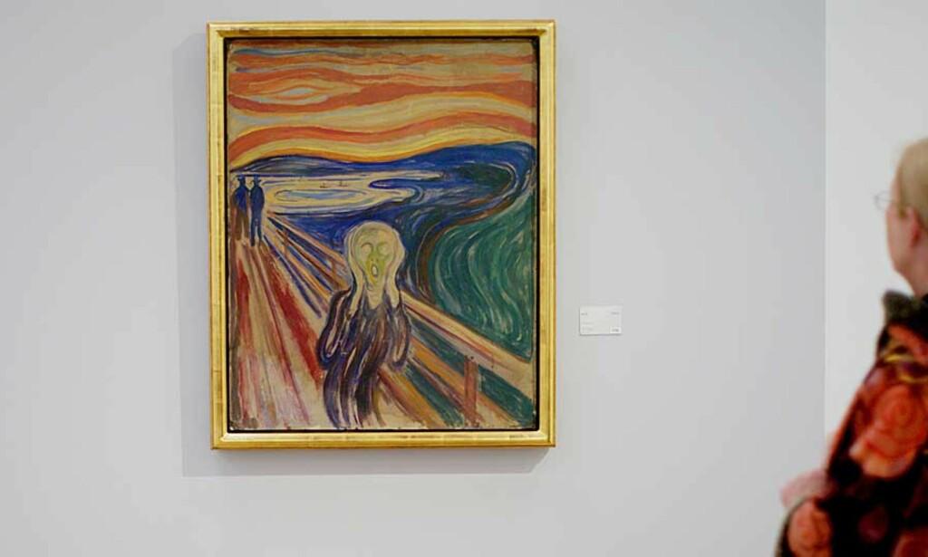 """TILBAKE: Edvard Munch maleriet """"Skrik"""" var tilbake på Munch-museet i mai, og  utstillingen """"Gjensyn med Skrik og Madonna"""" skal etter planen bli hengende fram til i morgen. I dag ble en 40-åring funnet skyldig i å ha deltatt i ranet av museet i 2004, men kjennelsen ble satt til side av dommeren. Foto: STIAN LYSBERG SOLUM/SCANPIX"""