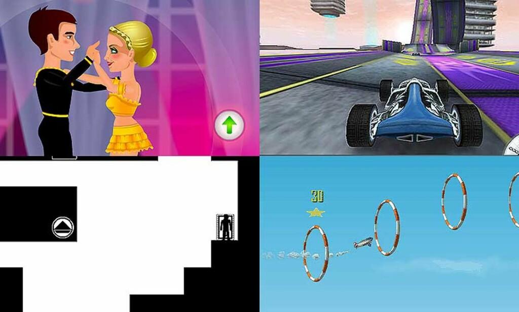 LITT TID TIL OVERS? Bildene er fra følgene gratisspill på 123spill.no: Skal vi danse, Stunt Pilot, Shift 3 og Drift \'n\' Burn 2: My Racer.