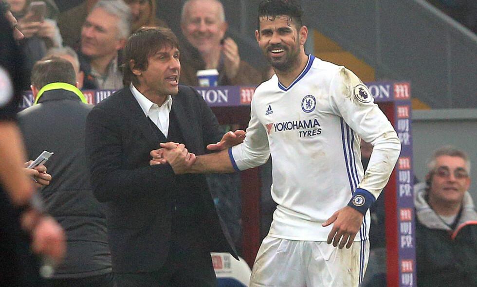 SUKSESSDUO: Diego Costa har levert på aller øverste hylle for Antonio Conte og Chelsea denne sesongen. I dag ble han matchvinner da londonerne sikret seg sin 11. strake seier. Foto: Andrew Fosker / Seconds Left / REX / Shutterstock / NTB Scanpix