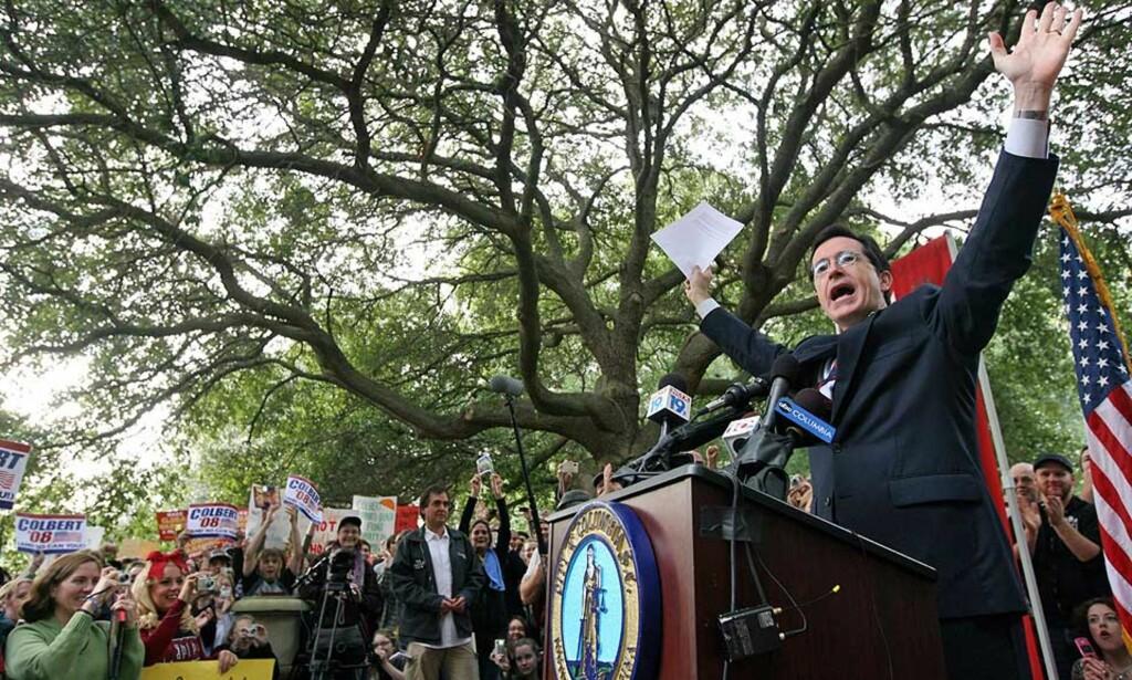 COLBERT 08... gikk i vasken. Nå blir komikeren istedet presidentkandidat i tegneserien Spider-Man. Foto: SCANPIX