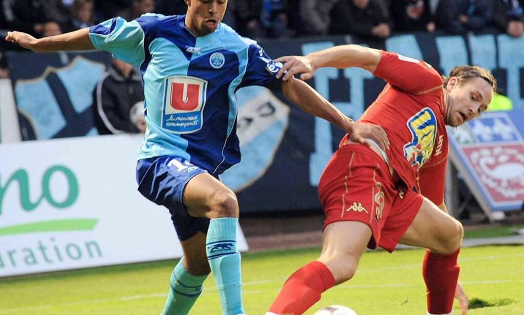 MÅLLØS: Men Thorstein Helstad og Le Mans snudde 0-1 til 2-1 over Le Havre etter at Fredrik Strømstad kom inn som innbytter. Foto: AFP/SCANPIX