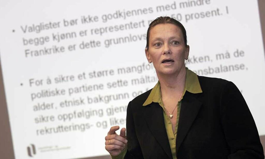 OPPFORDRING: Beate Gangås ønsker at homofile skal nevnes spesielt i statlige stillingsannonser. Seinere håper hun at næringslivet kommer etter. Foto: JARL FR. ERICHSEN / SCANPIX