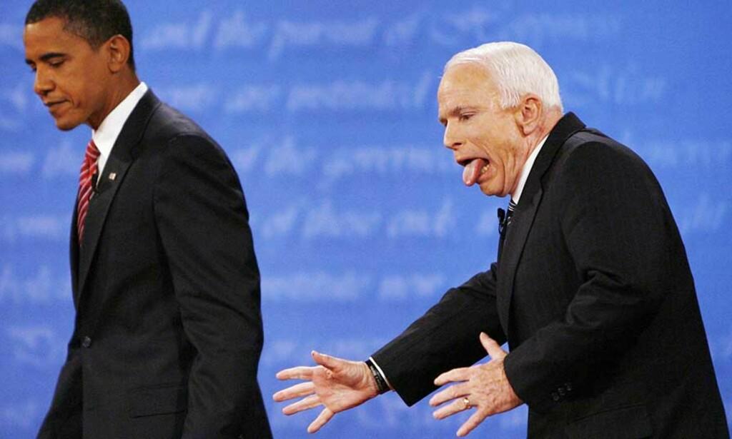 ORIGINALBILDET: Reuters\' Jim Bourg tok bildet etter debatten mellom Obama og McCain. Foto: SCANPIX