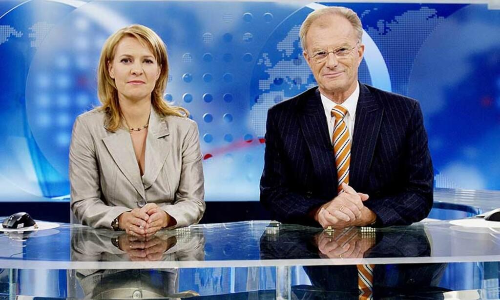 NYHETER: Det amerikanske nyhetsprogrammet Democracy now har fornyet tv-nyhetene som sjanger, mens NRK, her ved Gry Blekastad Almås og Einar Lunde, har stivnet i en gammeldags form. Foto: Stian Lysberg Solum/Scanpix
