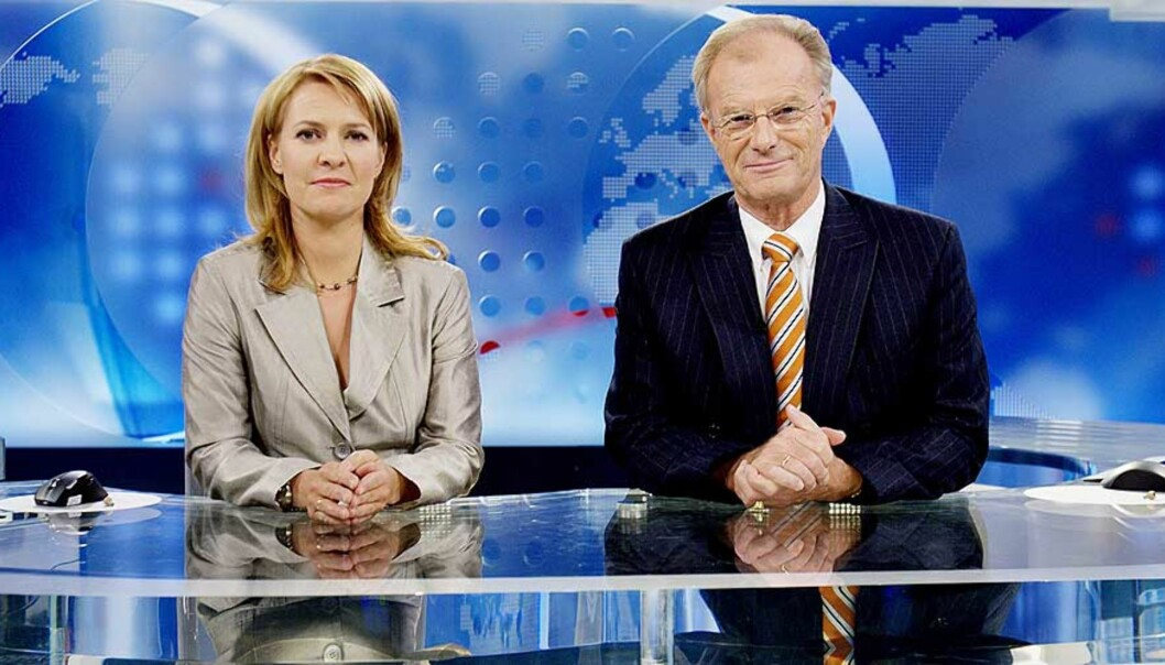 <strong><b>NYHETER:</strong></b> Det amerikanske nyhetsprogrammet Democracy now har fornyet tv-nyhetene som sjanger, mens NRK, her ved Gry Blekastad Almås og Einar Lunde, har stivnet i en gammeldags form. Foto: Stian Lysberg Solum/Scanpix