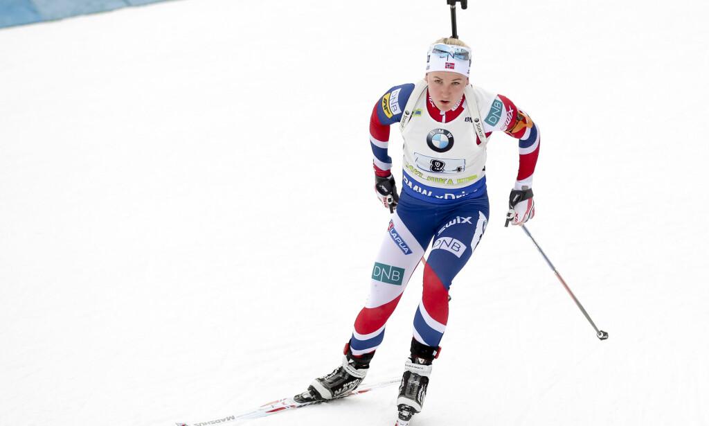 FORNØYD: Marte Olsbu var svært fornøyd med en femteplass i Nove Mesto i dag. Foto: Primoz Lovric / NTB scanpix