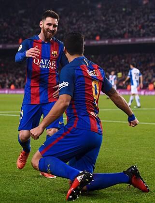 HERJET: Messi sto for to målgivende pasninger og en scoring, mens Suárez hadde to mål og én assist. Foto: Scanpix
