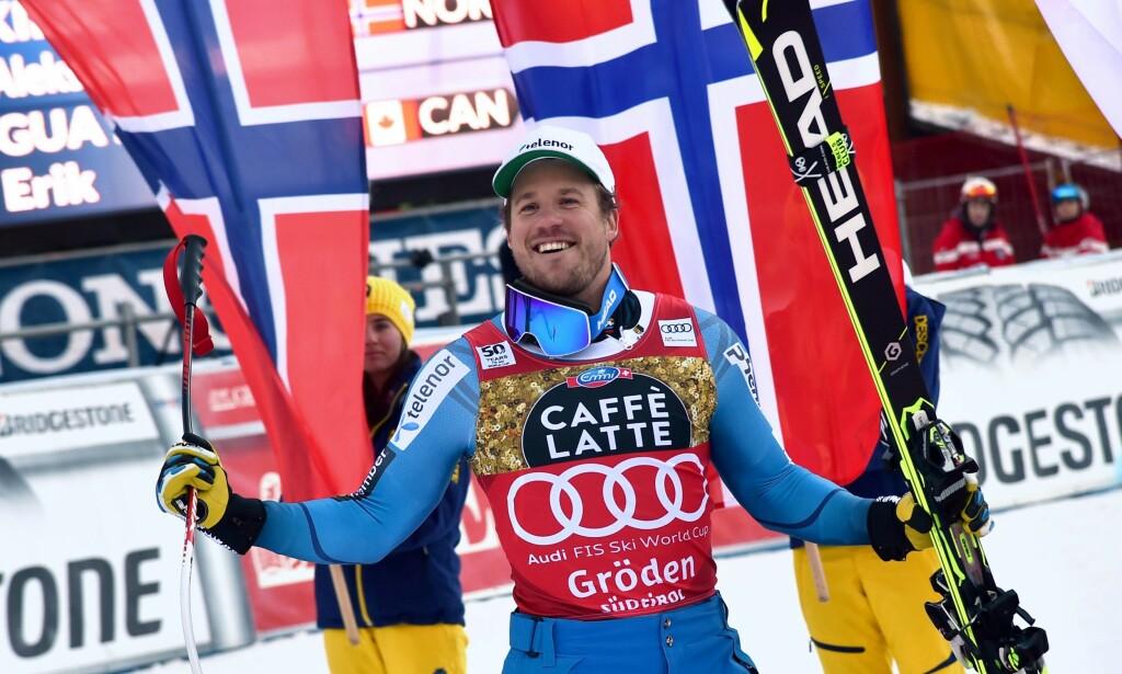 NOK EN SEIER?: Kjetil Jansrud ser ut til å mot seier for Kjetil Jansrud. AFP PHOTO / GIUSEPPE CACACE