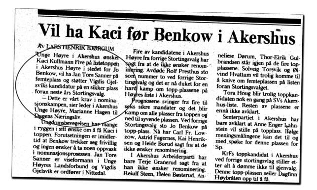 LYKKES: Med støtte fra Marianne Hagen kom Sanner inn på Stortinget i 1989, med fast plass så lenge Kaci Kullmann Five var statsråd. Siden da har han vært på Stortinget. Faksimile: Dagens Næringsliv, 23. august 1988
