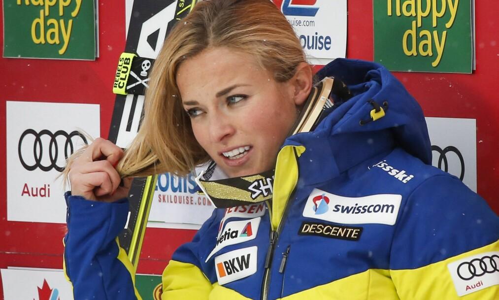 <strong>KRITISK:</strong> Lara Gut er ikke fornøyd med at storslalåm-rennet i Frankrike kjøres i sterk vind. Foto: THE CANADIAN PRESS/Jeff McIntosh