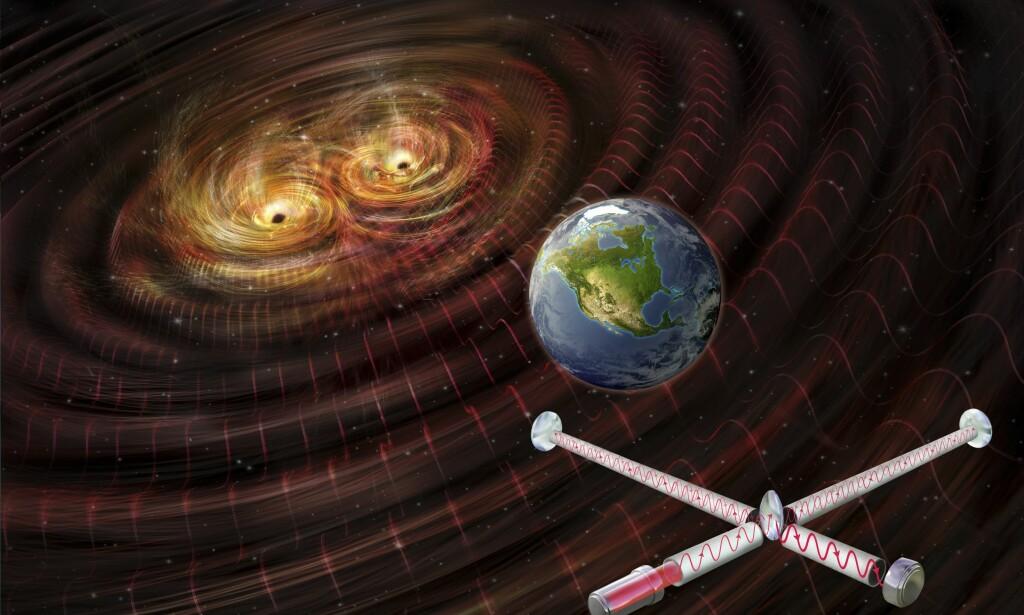 """<b>FRAMSKRITT: </b>Bildet illustrerer to sorte hull som smelter sammen og skaper gravitasjonsbølger. LIGO klarte i Februar å """"se"""" disse bølgene hundre år etter Einstein beskrev fenomenet. Foto: NTB Scanpix"""