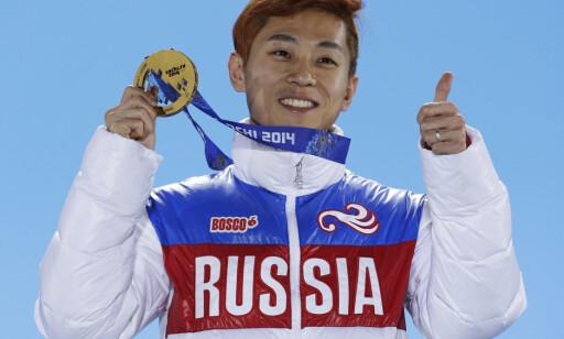 SØRKOREANSK HJELP: Viktor Ahn ble Russlands beste utøver i Sotsji med tre gull og en bronse. Faren hans fant det nye landet på internett. FOTO:AP/David J. Phillip.