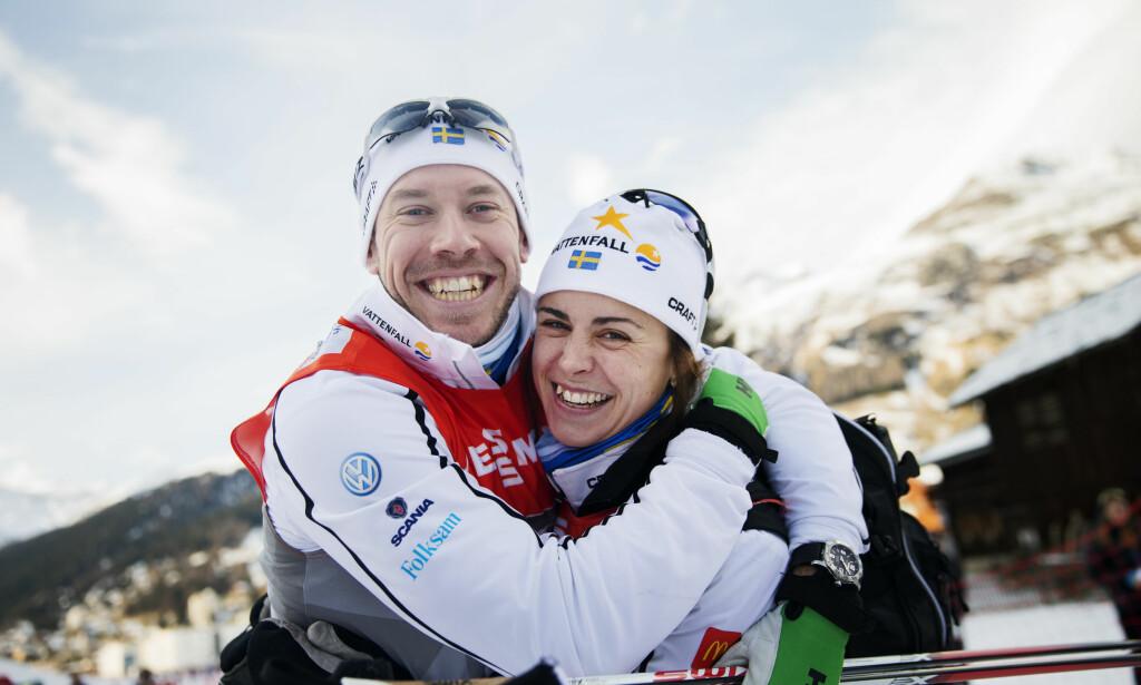 MER ENN LANGRENN: Emil Jönsson og Anna Haag drømmer om å oppnå mer enn gode resultater i skisporet. Foto: Nils Petter Nilsson / TT / NTB Scanpix