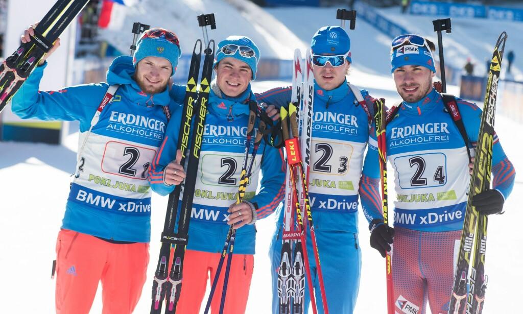 FÅR IKKE KONKURRERE PÅ HJEMMEBANE: De russiske skiskytterne. Foto: NTB Scanpix