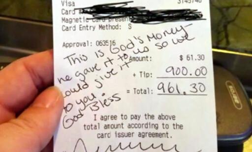 KVITTERINGEN: På kvitteringen som kunden la igjen stod det skrevet: «Dette er guds penger, han gav dem til oss så vi kunne gi dem til deg. Gud velsigne deg.» Foto: Privat / CNN